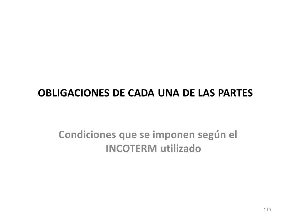 119 OBLIGACIONES DE CADA UNA DE LAS PARTES Condiciones que se imponen según el INCOTERM utilizado