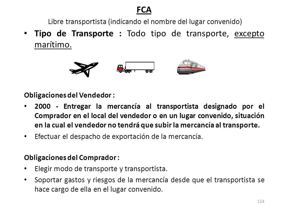 124 FCA Libre transportista (indicando el nombre del lugar convenido) Tipo de Transporte : Todo tipo de transporte, excepto marítimo. Obligaciones del