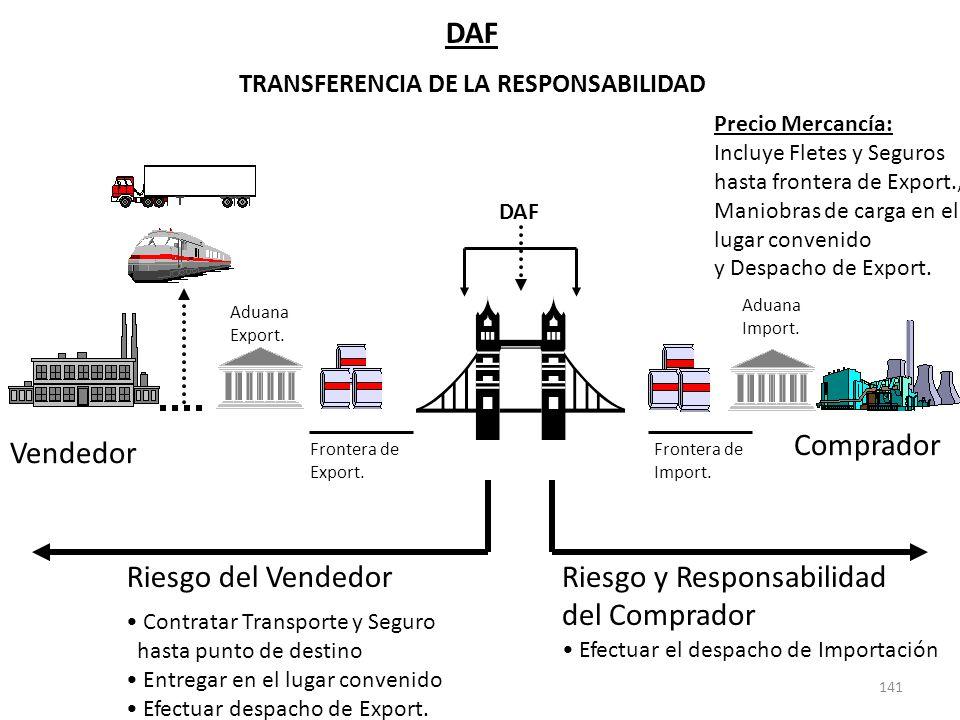 141 DAF TRANSFERENCIA DE LA RESPONSABILIDAD Riesgo y Responsabilidad del Comprador Efectuar el despacho de Importación Vendedor Comprador Frontera de