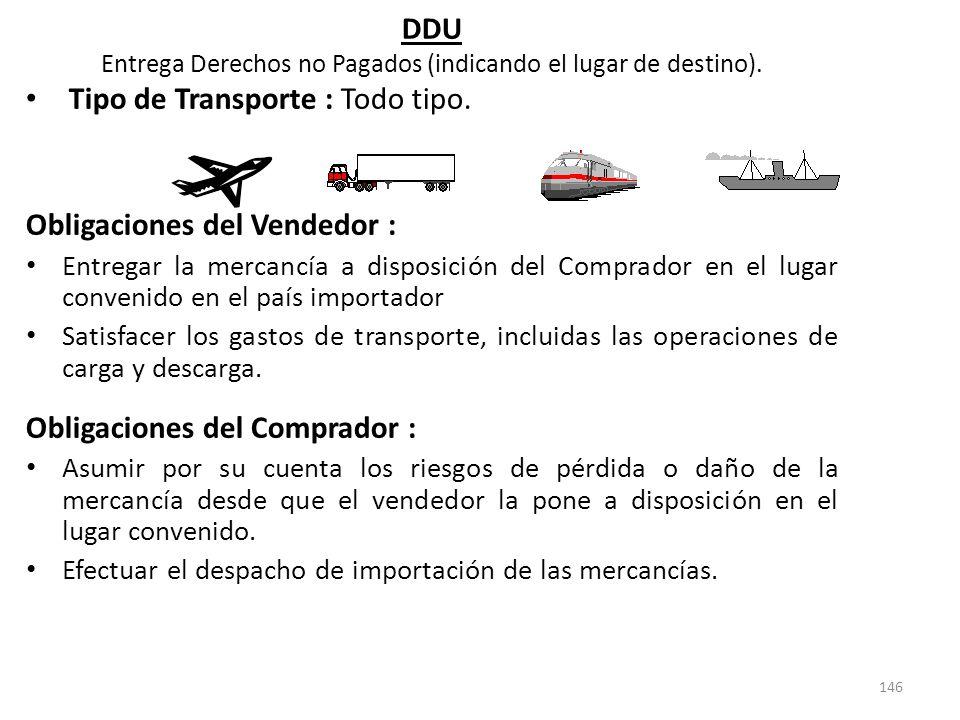 146 DDU Entrega Derechos no Pagados (indicando el lugar de destino). Tipo de Transporte : Todo tipo. Obligaciones del Vendedor : Entregar la mercancía