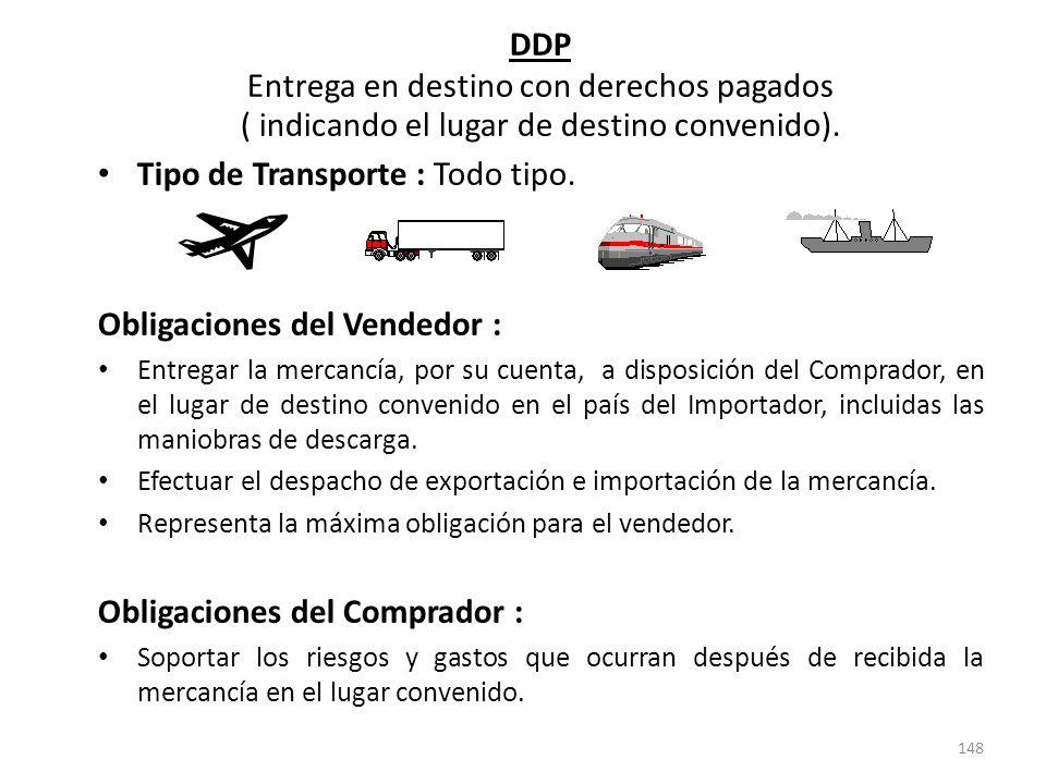 148 DDP Entrega en destino con derechos pagados ( indicando el lugar de destino convenido). Tipo de Transporte : Todo tipo. Obligaciones del Vendedor