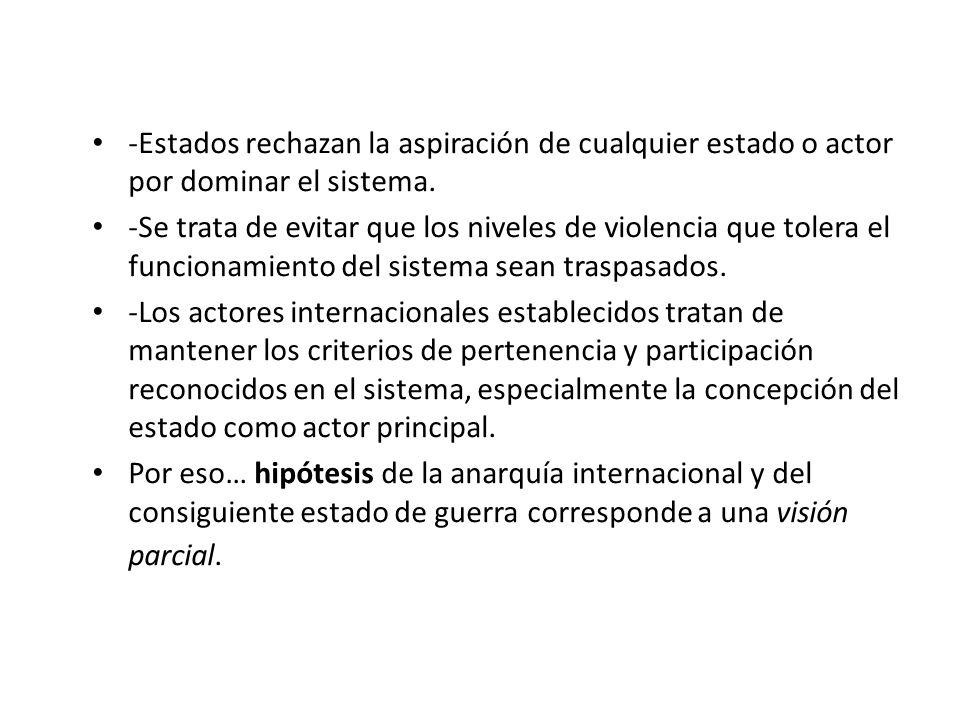 Conservación del sistema internacional -Estados rechazan la aspiración de cualquier estado o actor por dominar el sistema. -Se trata de evitar que los