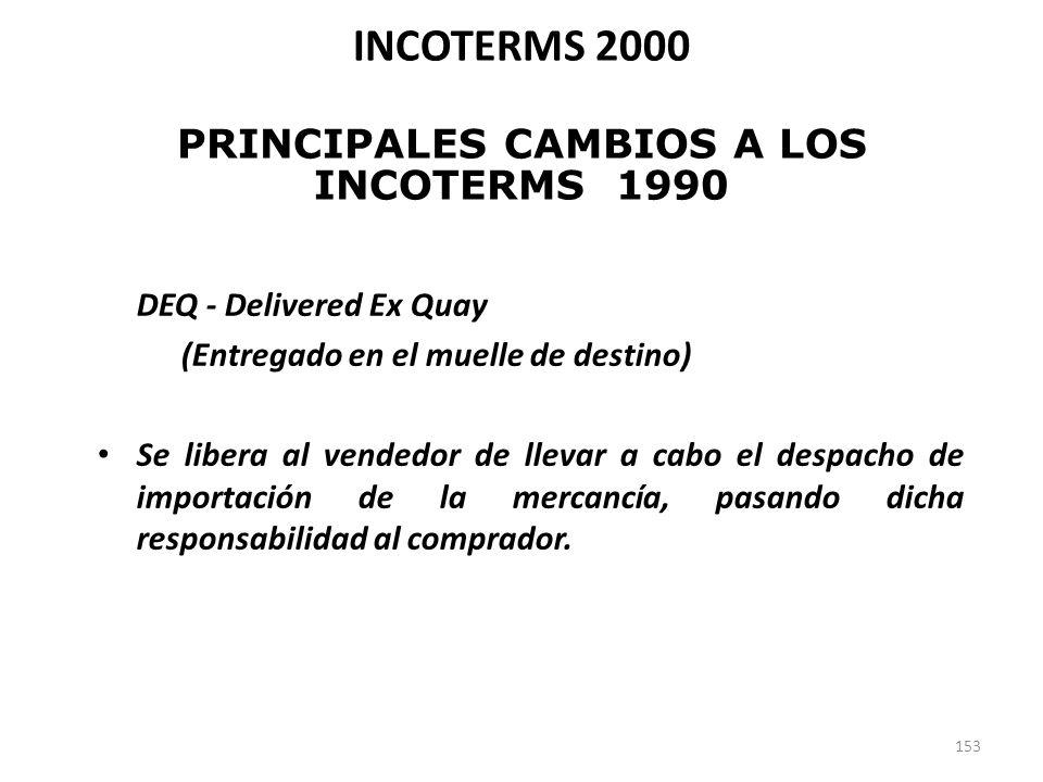 153 DEQ - Delivered Ex Quay (Entregado en el muelle de destino) Se libera al vendedor de llevar a cabo el despacho de importación de la mercancía, pas