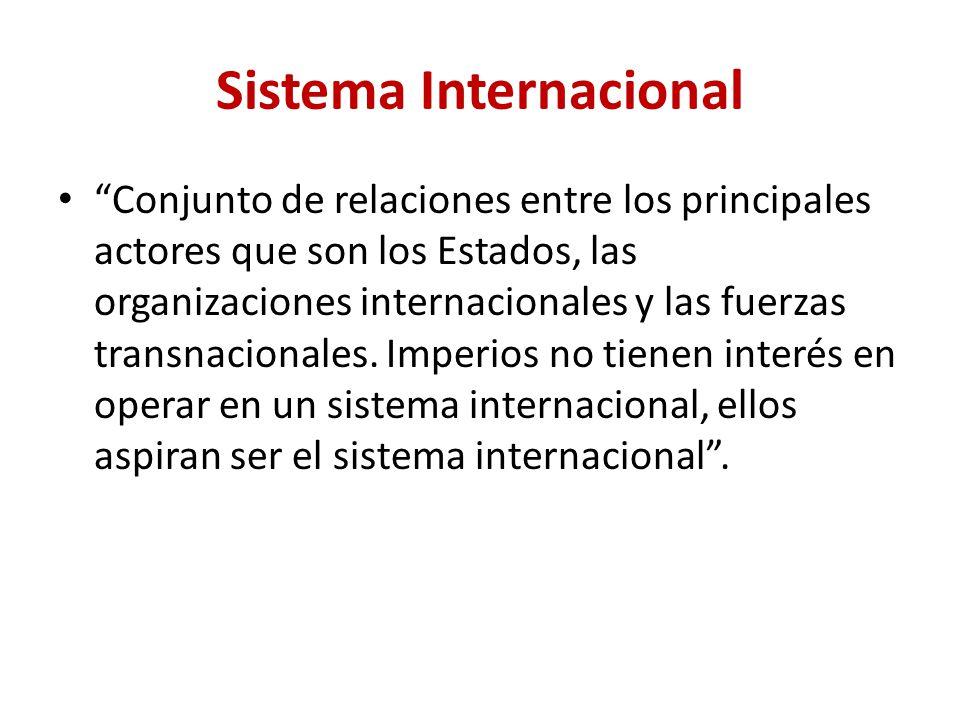 Sistema Internacional Conjunto de relaciones entre los principales actores que son los Estados, las organizaciones internacionales y las fuerzas trans