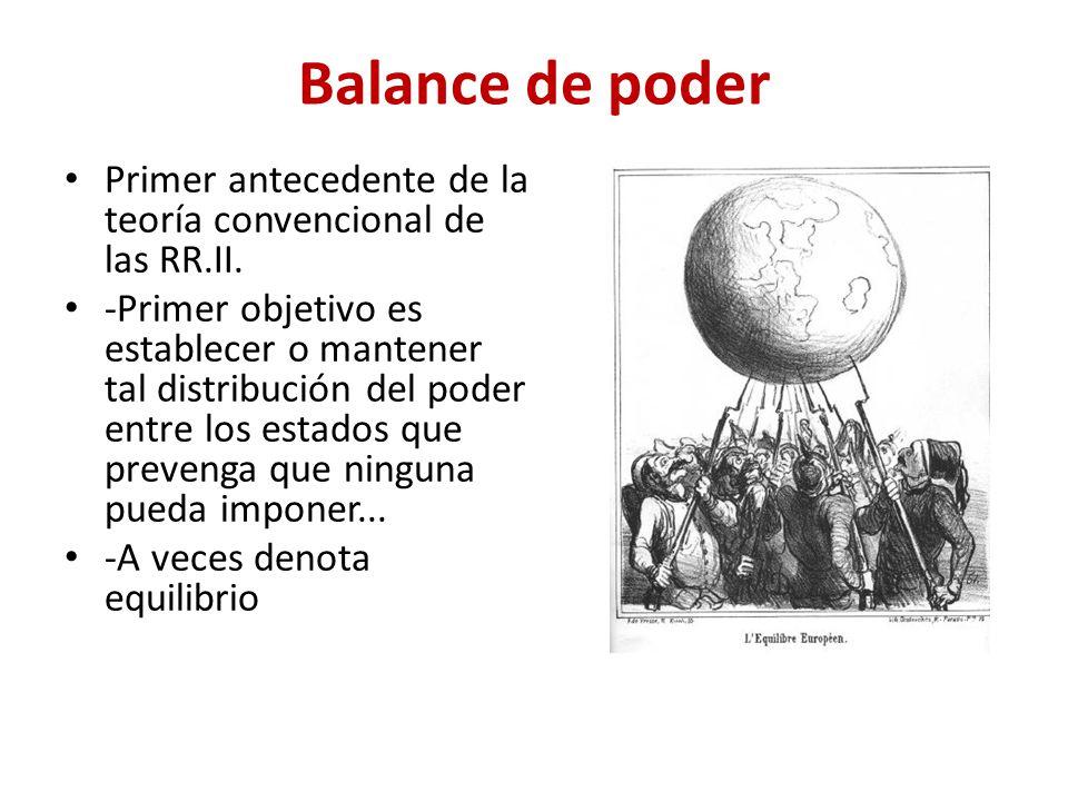 Balance de poder Primer antecedente de la teoría convencional de las RR.II. -Primer objetivo es establecer o mantener tal distribución del poder entre