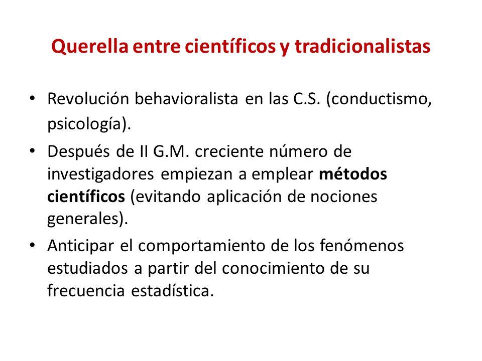 Querella entre científicos y tradicionalistas Revolución behavioralista en las C.S. (conductismo, psicología). Después de II G.M. creciente número de
