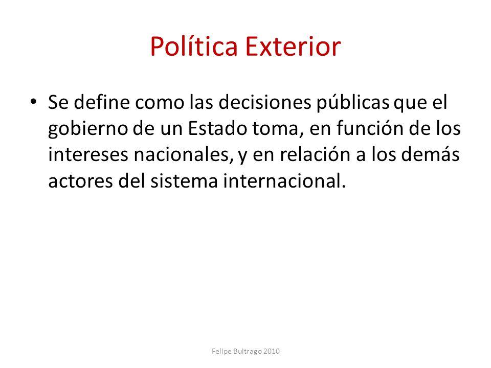 Política Exterior Se define como las decisiones públicas que el gobierno de un Estado toma, en función de los intereses nacionales, y en relación a lo
