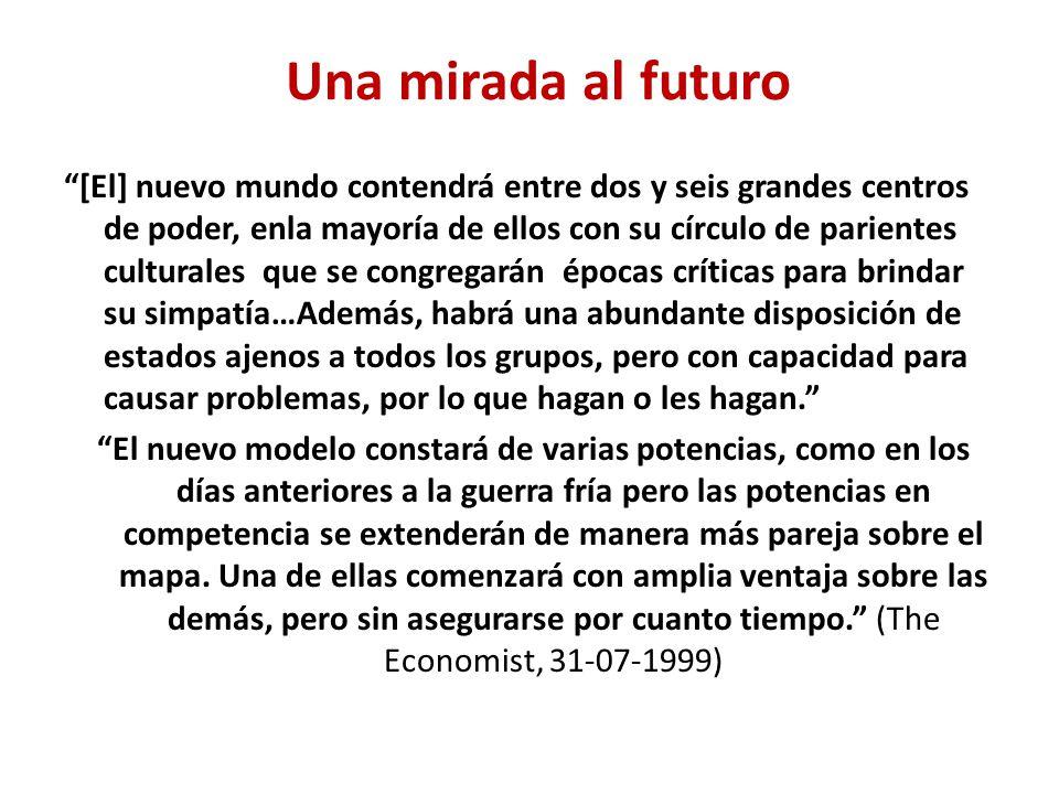 Una mirada al futuro [El] nuevo mundo contendrá entre dos y seis grandes centros de poder, enla mayoría de ellos con su círculo de parientes culturale