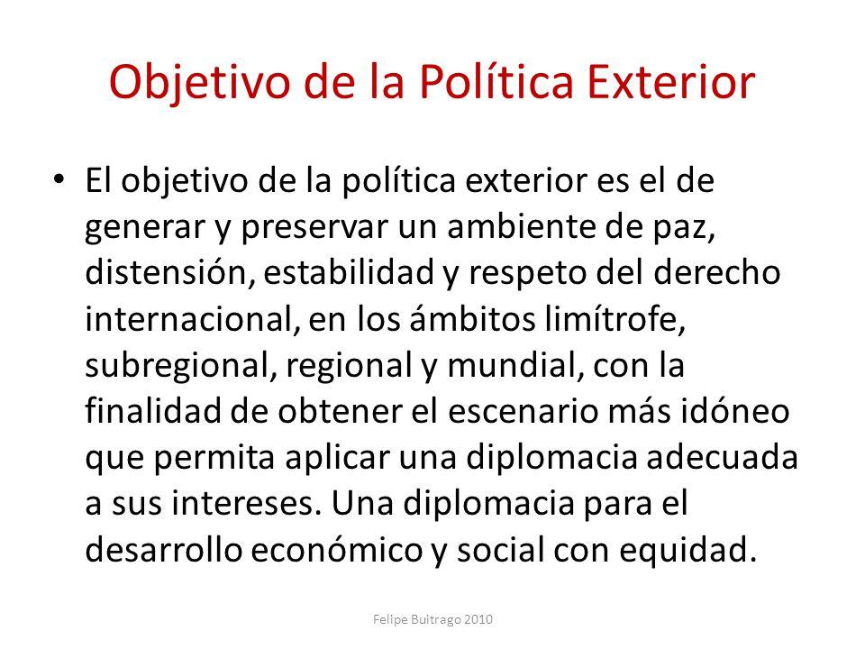 Objetivo de la Política Exterior El objetivo de la política exterior es el de generar y preservar un ambiente de paz, distensión, estabilidad y respet
