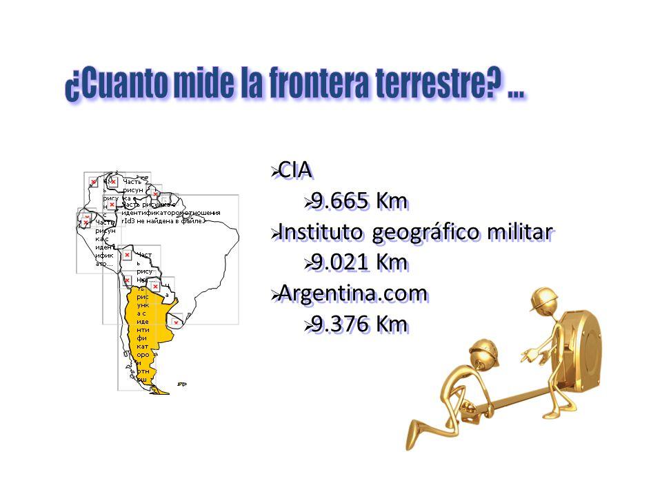 CIA 9.665 Km Instituto geográfico militar 9.021 Km Argentina.com 9.376 Km CIA 9.665 Km Instituto geográfico militar 9.021 Km Argentina.com 9.376 Km
