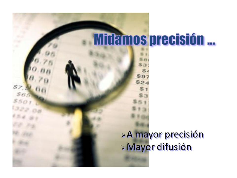 A mayor precisión Mayor difusión A mayor precisión Mayor difusión