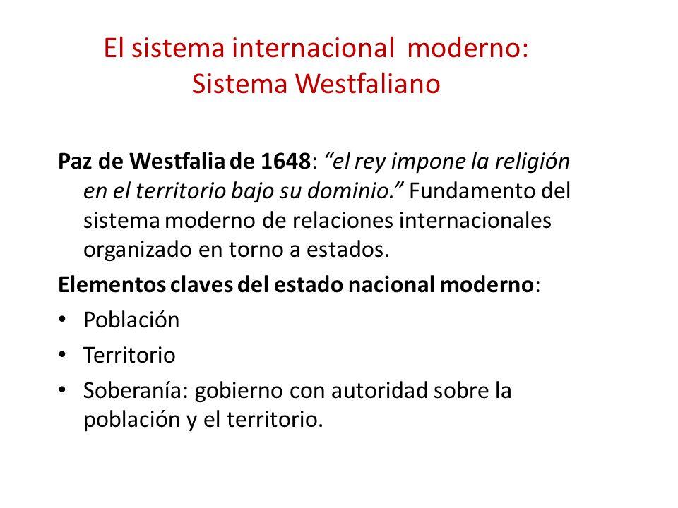 El sistema internacional moderno: Sistema Westfaliano Paz de Westfalia de 1648: el rey impone la religión en el territorio bajo su dominio. Fundamento