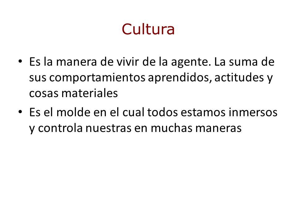 Cultura Es la manera de vivir de la agente. La suma de sus comportamientos aprendidos, actitudes y cosas materiales Es el molde en el cual todos estam