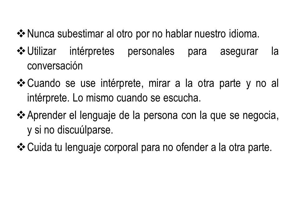 Nunca subestimar al otro por no hablar nuestro idioma. Utilizar intérpretes personales para asegurar la conversación Cuando se use intérprete, mirar a