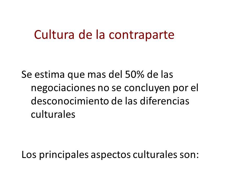 Se estima que mas del 50% de las negociaciones no se concluyen por el desconocimiento de las diferencias culturales Los principales aspectos culturale