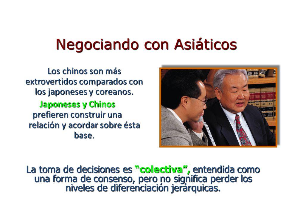 Los chinos son más extrovertidos comparados con los japoneses y coreanos. Japoneses y Chinos prefieren construir una relación y acordar sobre ésta bas