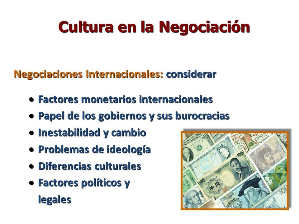 Negociaciones Internacionales: considerar Factores monetarios internacionales Factores monetarios internacionales Papel de los gobiernos y sus burocra