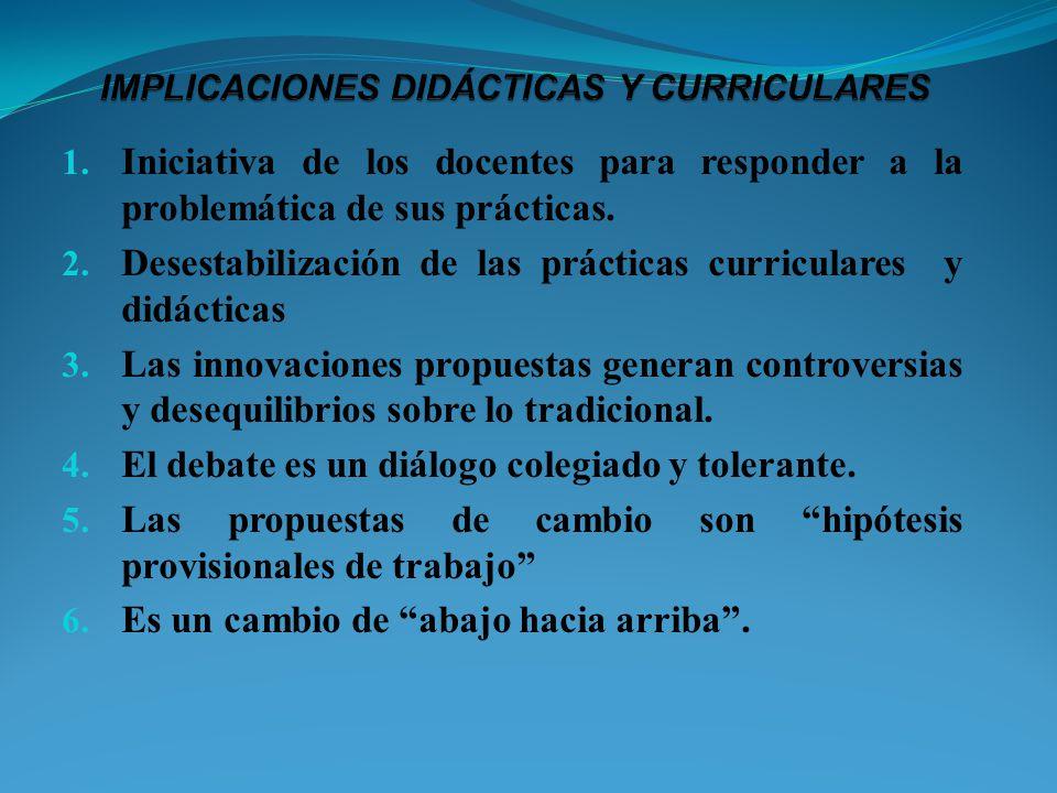 1. Iniciativa de los docentes para responder a la problemática de sus prácticas. 2. Desestabilización de las prácticas curriculares y didácticas 3. La