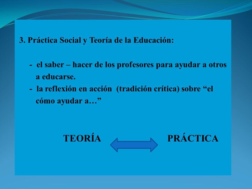 3. Práctica Social y Teoría de la Educación: - el saber – hacer de los profesores para ayudar a otros a educarse. - la reflexión en acción (tradición