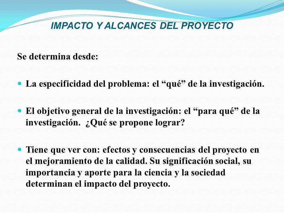 IMPACTO Y ALCANCES DEL PROYECTO Se determina desde: La especificidad del problema: el qué de la investigación. El objetivo general de la investigación