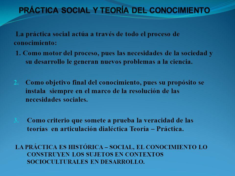 La práctica social actúa a través de todo el proceso de conocimiento: 1. Como motor del proceso, pues las necesidades de la sociedad y su desarrollo l