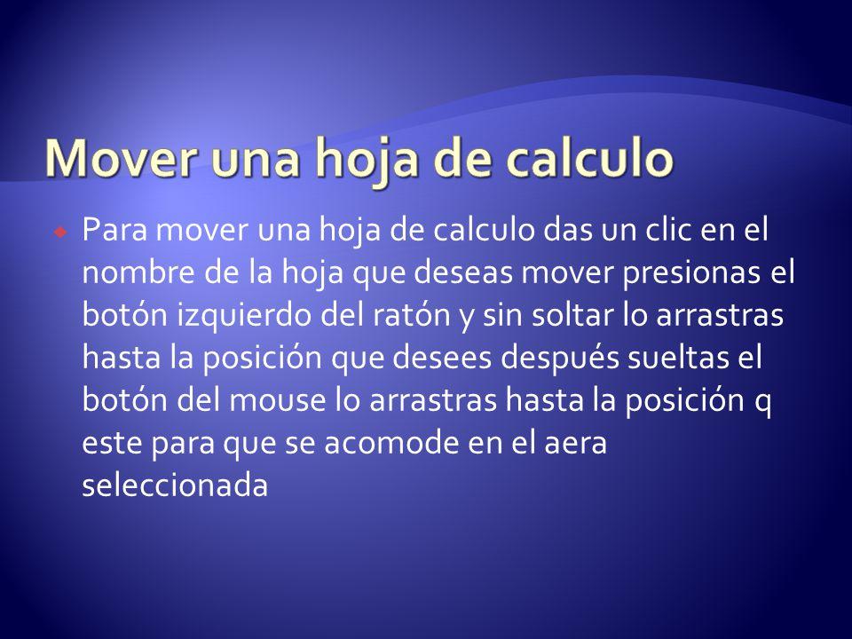 Para mover una hoja de calculo das un clic en el nombre de la hoja que deseas mover presionas el botón izquierdo del ratón y sin soltar lo arrastras h