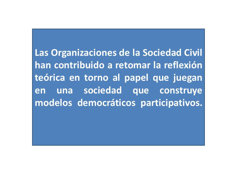 Las Organizaciones de la Sociedad Civil han contribuido a retomar la reflexión teórica en torno al papel que juegan en una sociedad que construye mode