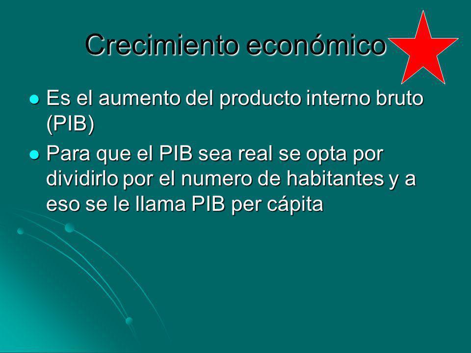 Crecimiento económico Es el aumento del producto interno bruto (PIB) Es el aumento del producto interno bruto (PIB) Para que el PIB sea real se opta p