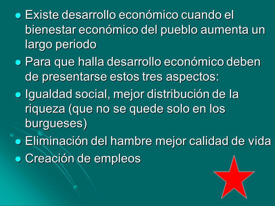 Existe desarrollo económico cuando el bienestar económico del pueblo aumenta un largo periodo Existe desarrollo económico cuando el bienestar económic