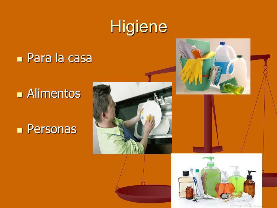 Higiene Para la casa Para la casa Alimentos Alimentos Personas Personas