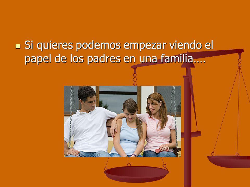 Si quieres podemos empezar viendo el papel de los padres en una familia…. Si quieres podemos empezar viendo el papel de los padres en una familia….