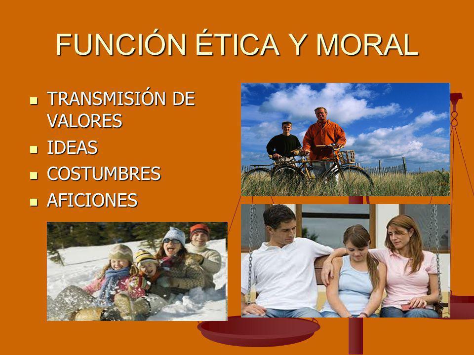 FUNCIÓN ÉTICA Y MORAL TRANSMISIÓN DE VALORES TRANSMISIÓN DE VALORES IDEAS IDEAS COSTUMBRES COSTUMBRES AFICIONES AFICIONES