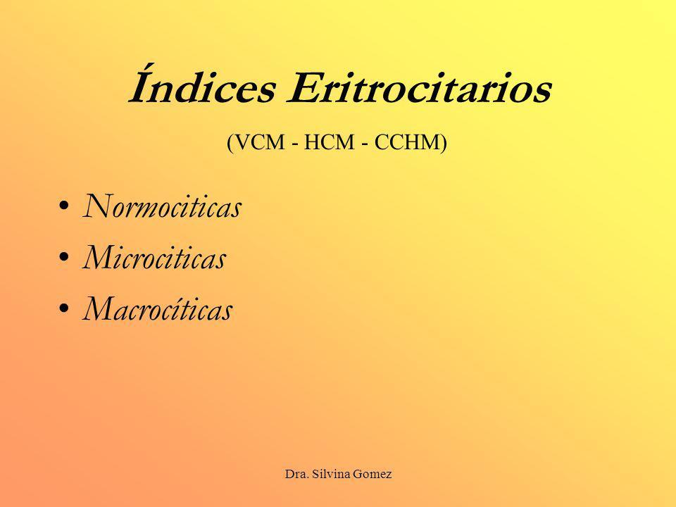 Dra. Silvina Gomez Índices Eritrocitarios Normociticas Microciticas Macrocíticas (VCM - HCM - CCHM)