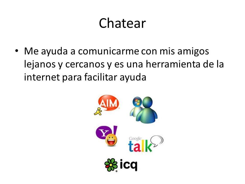 Chatear Me ayuda a comunicarme con mis amigos lejanos y cercanos y es una herramienta de la internet para facilitar ayuda