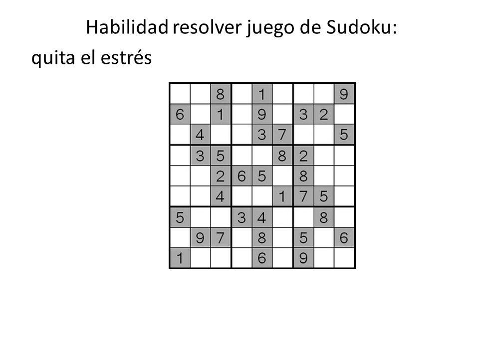 Habilidad resolver juego de Sudoku: quita el estrés