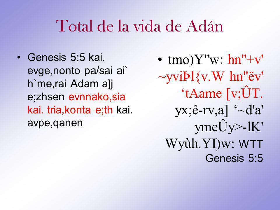 Total de la vida de Adán Genesis 5:5 kai.