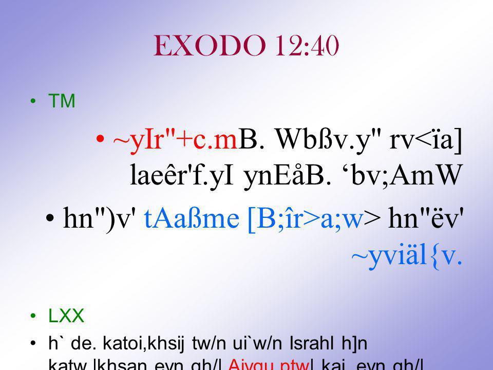 EXODO 12:40 TM ~yIr +c.mB.Wbßv.y rv<ïa] laeêr f.yI ynEåB.