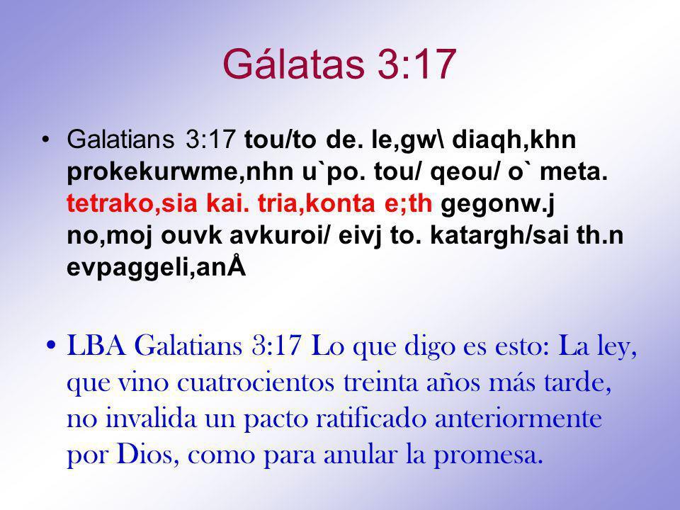 Gálatas 3:17 Galatians 3:17 tou/to de.le,gw\ diaqh,khn prokekurwme,nhn u`po.