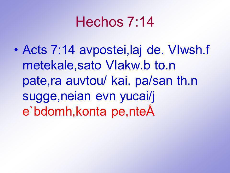Hechos 7:14 Acts 7:14 avpostei,laj de.VIwsh.f metekale,sato VIakw.b to.n pate,ra auvtou/ kai.