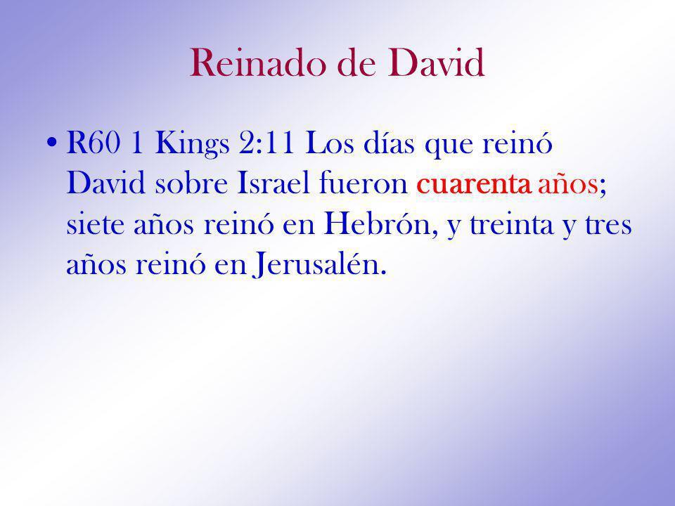 Reinado de David R60 1 Kings 2:11 Los días que reinó David sobre Israel fueron cuarenta años; siete años reinó en Hebrón, y treinta y tres años reinó en Jerusalén.