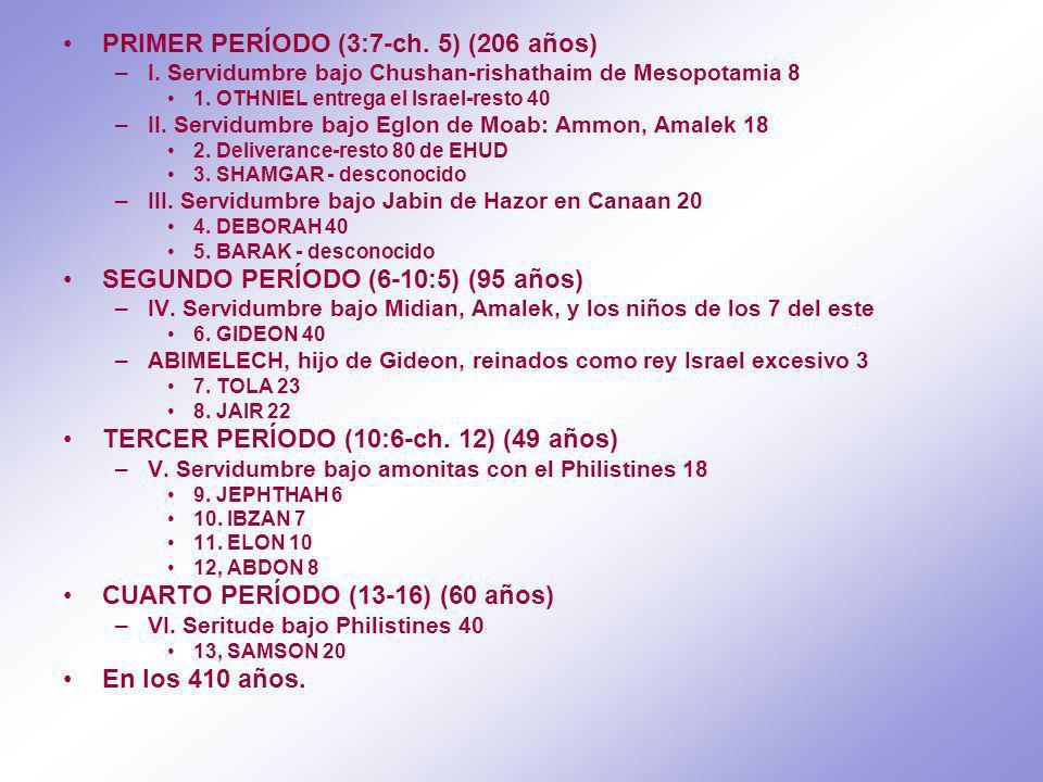 PRIMER PERÍODO (3:7-ch.5) (206 años) –I. Servidumbre bajo Chushan-rishathaim de Mesopotamia 8 1.