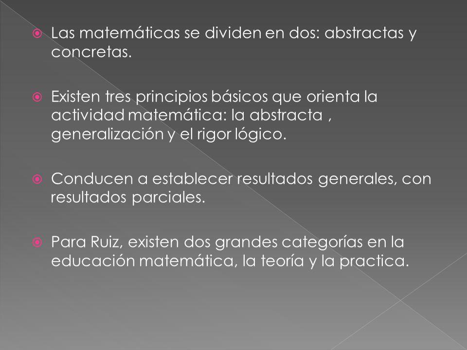 Las matemáticas se dividen en dos: abstractas y concretas.