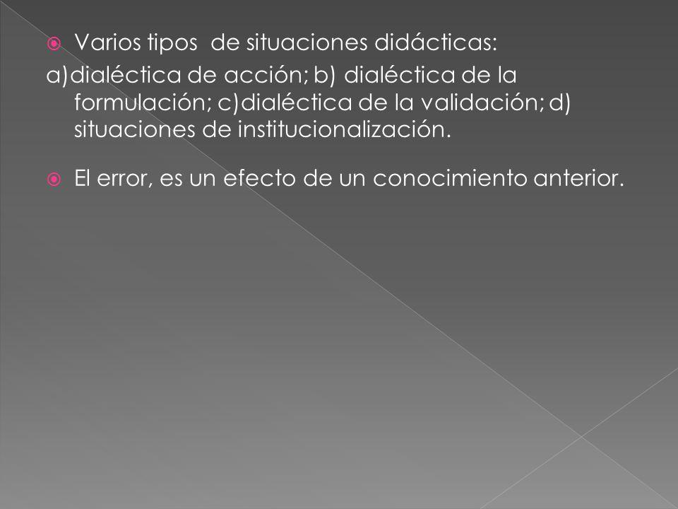 Varios tipos de situaciones didácticas: a)dialéctica de acción; b) dialéctica de la formulación; c)dialéctica de la validación; d) situaciones de institucionalización.