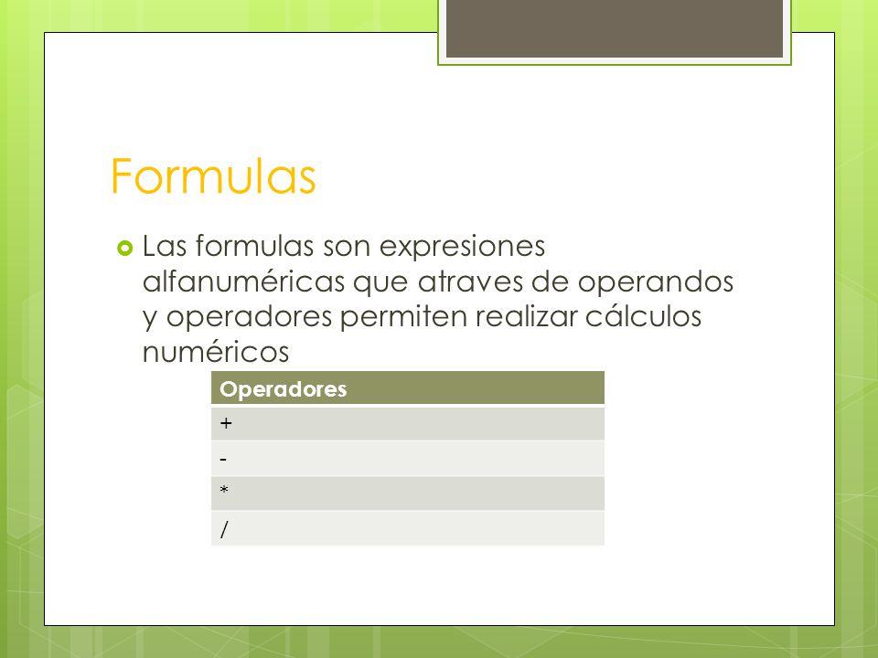 Formulas Las formulas son expresiones alfanuméricas que atraves de operandos y operadores permiten realizar cálculos numéricos Operadores + - * /