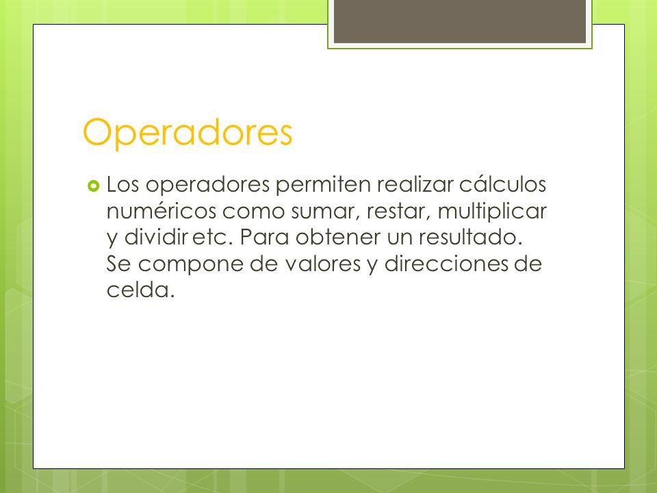 Los operadores permiten realizar cálculos numéricos como sumar, restar, multiplicar y dividir etc.