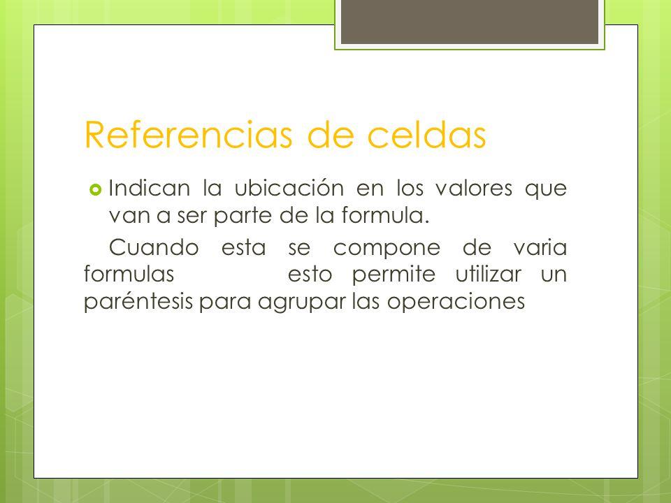 Referencias de celdas Indican la ubicación en los valores que van a ser parte de la formula.