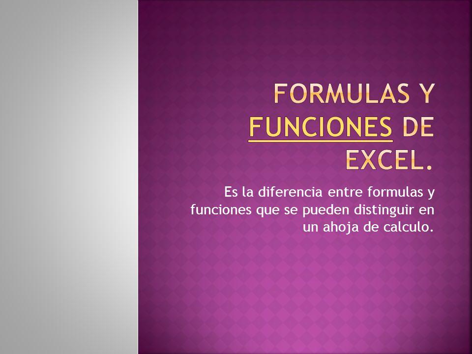 Es la diferencia entre formulas y funciones que se pueden distinguir en un ahoja de calculo.