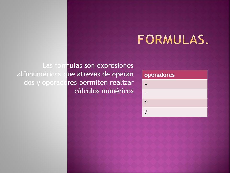 Las formulas son expresiones alfanuméricas que atreves de operan dos y operadores permiten realizar cálculos numéricos operadores + - * /