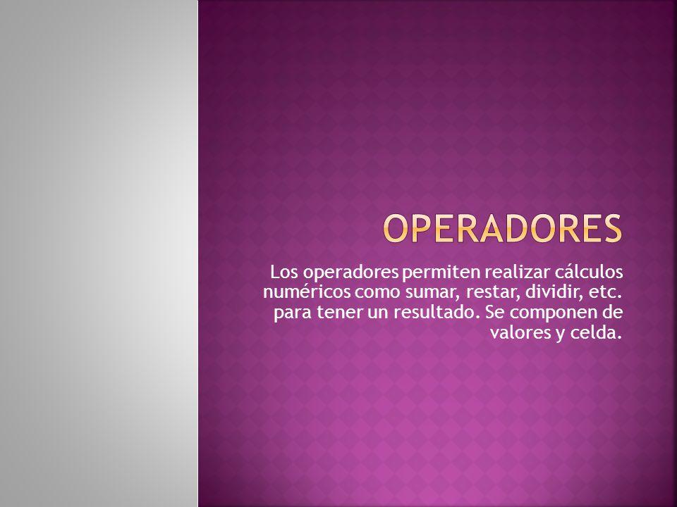 Los operadores permiten realizar cálculos numéricos como sumar, restar, dividir, etc.