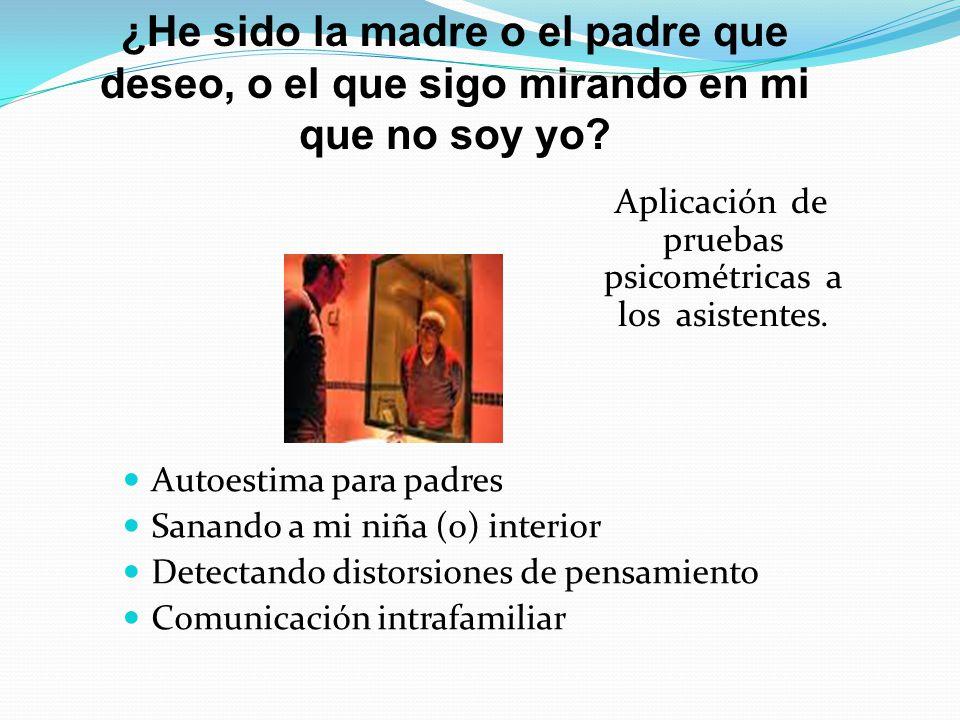 Autoestima para padres Sanando a mi niña (o) interior Detectando distorsiones de pensamiento Comunicación intrafamiliar ¿He sido la madre o el padre q